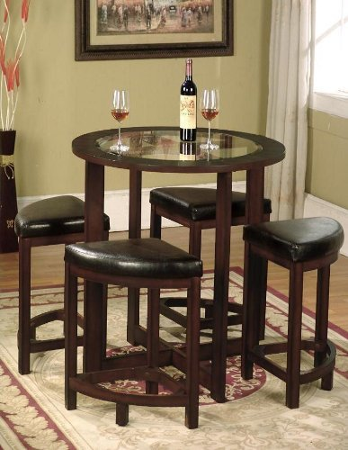 Roundhill Furniture Cylina Solid Wood Glass Top Round Counter Height Table with 4 Stools (Height Glass Counter Top Table Round)