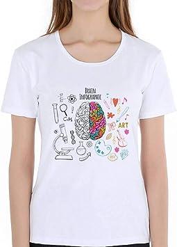 LIULINUIJ Camiseta De Mujer Geek Cerebro Camiseta Ciencia Química Biología Arte Geografía Matemáticas Física Moda Fresca Punk Camiseta Casual Estilo Divertido Camisetas Unisex: Amazon.es: Deportes y aire libre