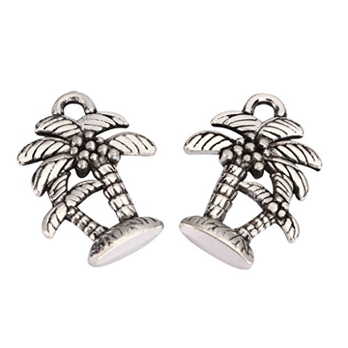 10 x Palm Tree Charms 18x15mm Antique Silver Tone for Bracelets Necklaces Earrings #mcz1009