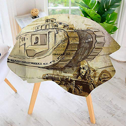 Circular Table Cover Washable Polyester-War Tank and Siers with Gas Mask on Paper Back Attack Battle Theme Brown Stain Resistant Wrinkle Free Dust Table Cover 50