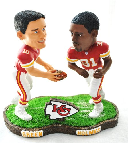 KC Chiefs rare NFL Duel Player (Preist Holmes #31 and Green#10) duel base action Bobble Head by forever