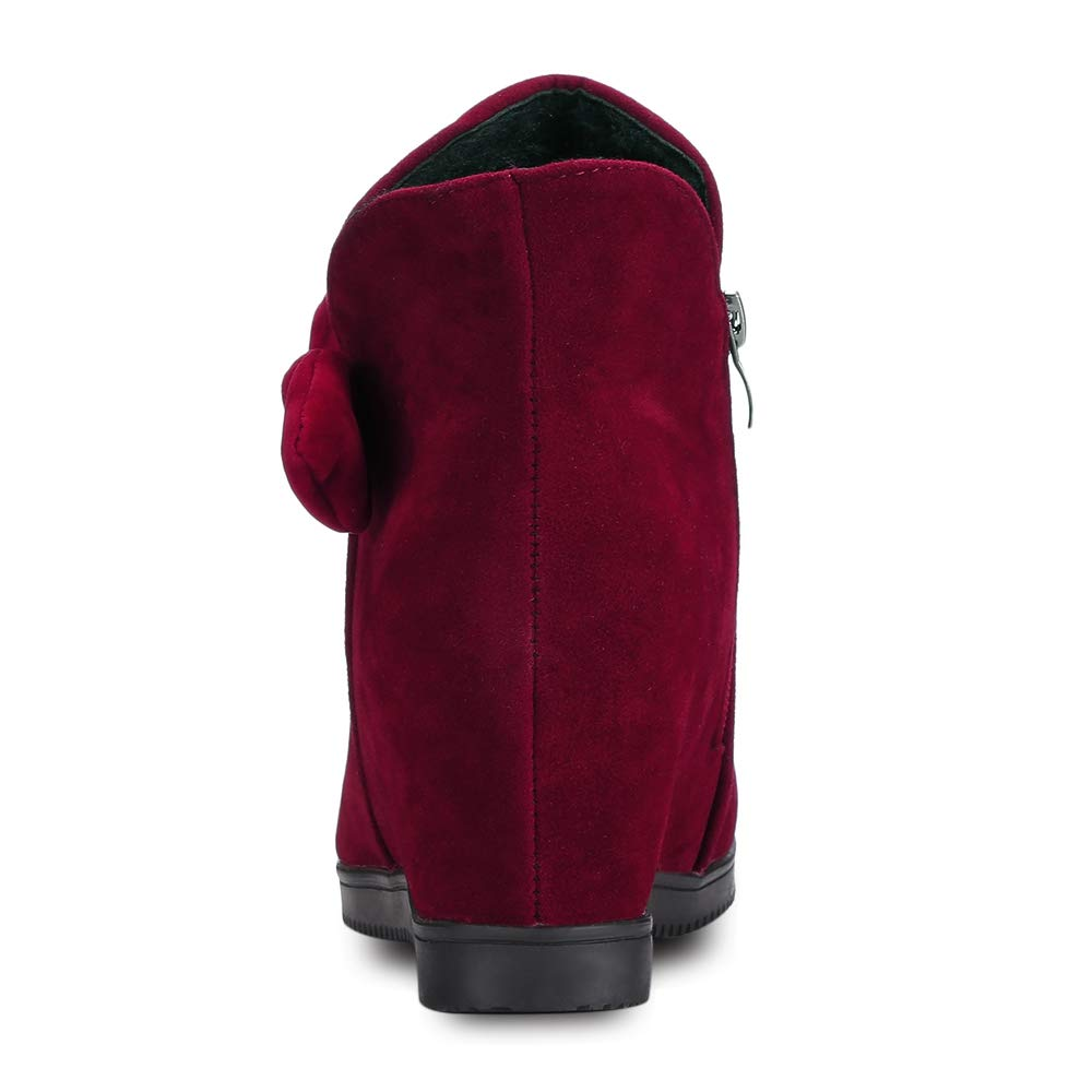 Lieyliso Runde Zehe Wildleder warme Damen Winter Schnee Schnee Schnee Ankle Schuhe Bequeme beiläufige Wohnungen Slip On Stiefelies (Farbe   rot, Größe   EU 36) cb2b70