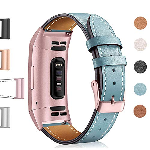 Rubber Bands Superior Quality - Hotodeal Leather Band Compatible Charge 3, Classic Replacement Genuine Leather Bands Metal Connectors Women Men Small Large Size Silver, Rose Gold, Black