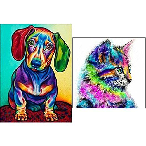 5D DIY Diamond Painting ,Diamond Painting by Number Kits for Adults Full Square Drill Rhinestone Embroidery for Wall Decoration 03 (Dog and Cat) by Cool Bank