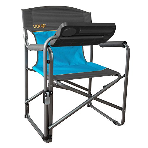 Uquip Woody Portable Folding Directors Chair with Tiltable Table – Blue Gray