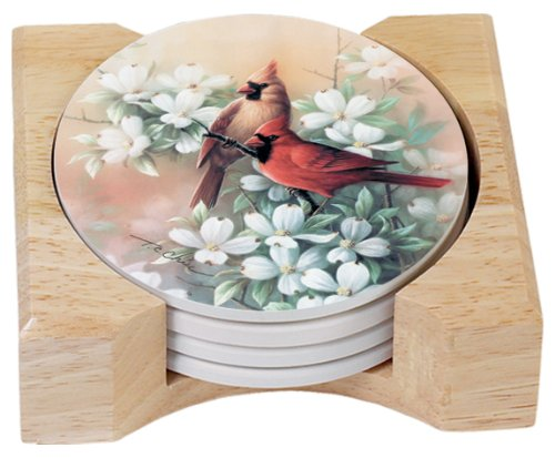 (CounterArt Cardinals Design Round Absorbent Coasters in Wooden Holder, Set of 4)