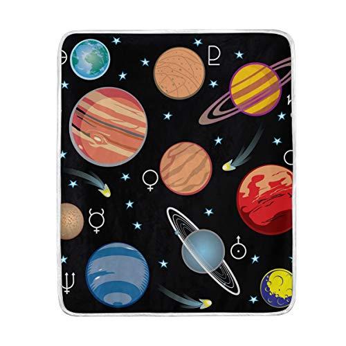 DOSHINE Couvre-lit, Universe Galaxy Système Solaire Doux léger Warmer couvertures 127 x 152,4 cm pour canapé lit Chaise de Bureau