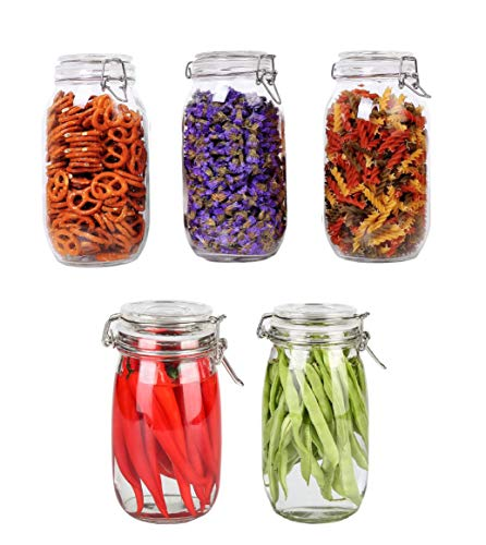 Pack of 5 Kitchen Dinning Food Container Pickle Grocery Grain Spice 1500ml Buckle Clamp Lid Price & Reviews