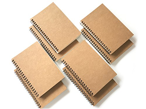 VEEPPO Brown Kraft Paper Soft Cover Small Spiral Blank Notebooks and Journals 4/8 Bulk Pack 100g Thick Cream White Paper 12x18cm (White Page-Pack of -