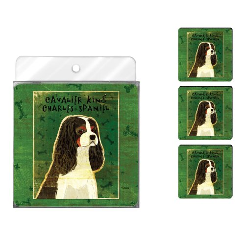 Tree-Free Greetings NC38012 John W. Golden 4-Pack Artful Coaster Set, Tri-Color Cavalier King Charles - Cavalier Spaniel Tri Color