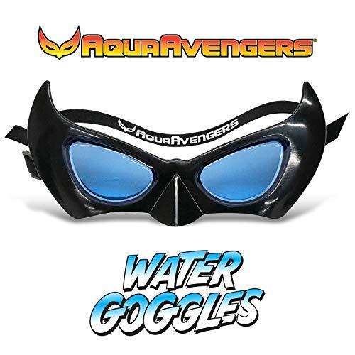 AquaAvengers Superhero Kids Swimming Goggles, Super Heroes Themed Adjustable Swim Mask, Black, for Ages 3+ (Anti Fog, UV Protection, Latex Free, Leak Proof)