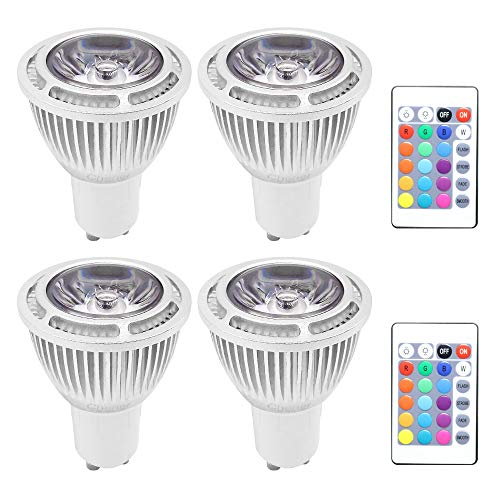 GU10 6W RGB Magic LED Colors Changing Light Bulb,4 Pack,16 Different Multi-Color LED Lamp with IR Remote Control for Home,Bar,Party,KTV,Mood Lighting,Chener
