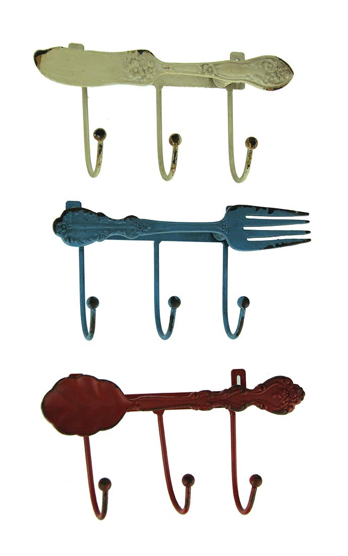 Things2Die4 Metal Decorative Wall Hooks Distressed Metal Kitchen Cutlery Wall Hook Racks Set of 3 6.75 X 3.5 X 1.5 inches Multicolored