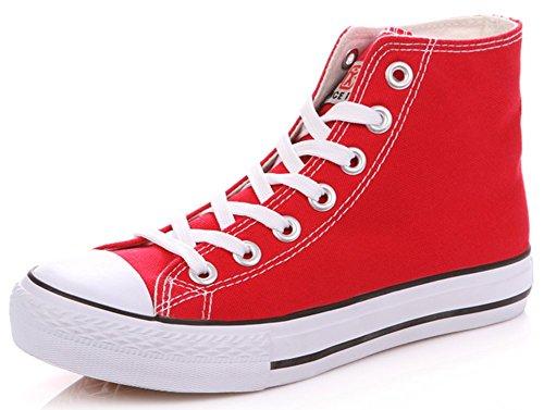 Idifu Heren Klassieke Hoge Top Sneakers Voor Heren Canvas Veters Ronde Neus Sport Gymschoenen Rood