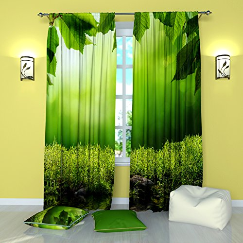 Premier Youth Panel - Green wealth - Curtains Green Window Drapes Panel (Pair / Set of 2) W84