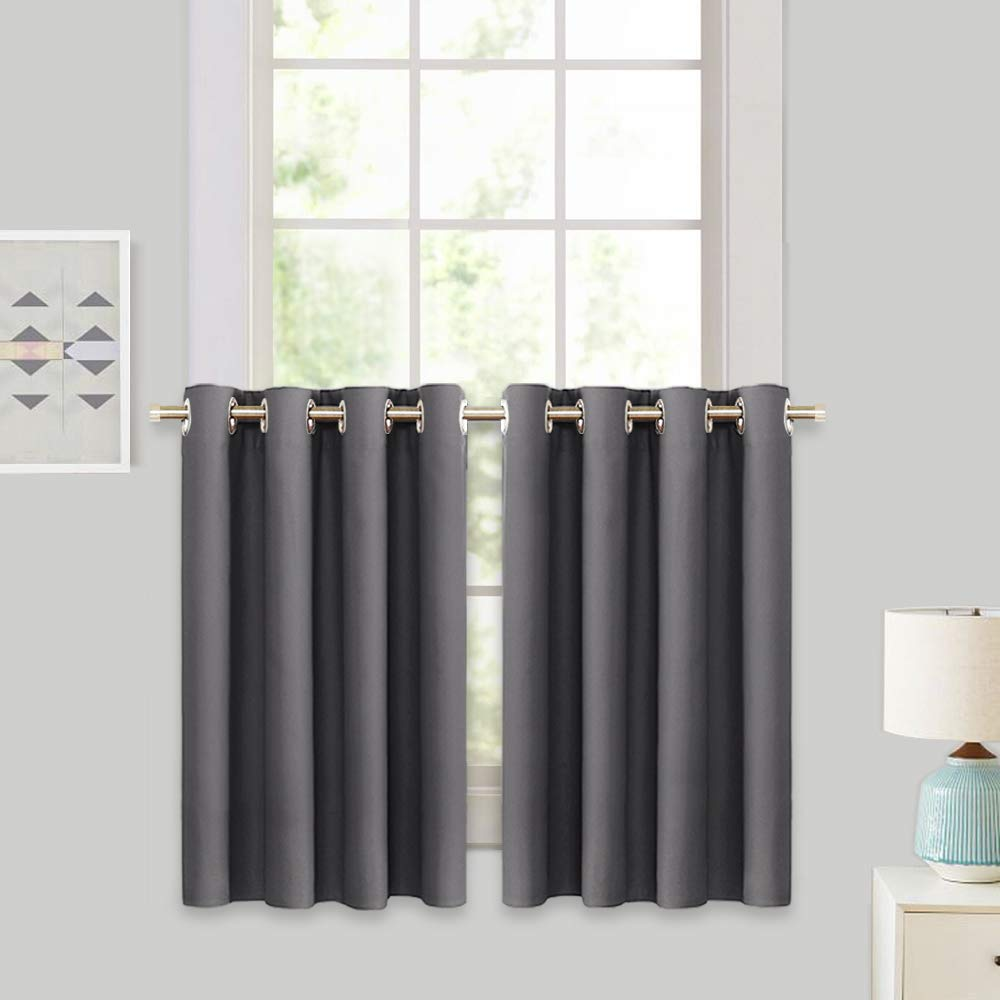 """RYB HOME Decor Window Treatment Tier Curtains for Bathroom, Insulated Panels for Bedroom Short Blackout Curtain Tiers for Kitchen Small Window/Living Room, W 52"""" by L 36"""", Grey, 1 Pair"""