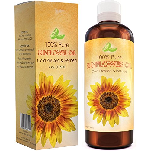 Pure Sunflower Seed Oil For Skin & Hair - Cold Pressed Refined Essential Carrier Oil for Aromatherapy + Massage - Natural Skin Care Anti-Aging Moisturizer for Women and Men with Vitamin E for Dry Skin