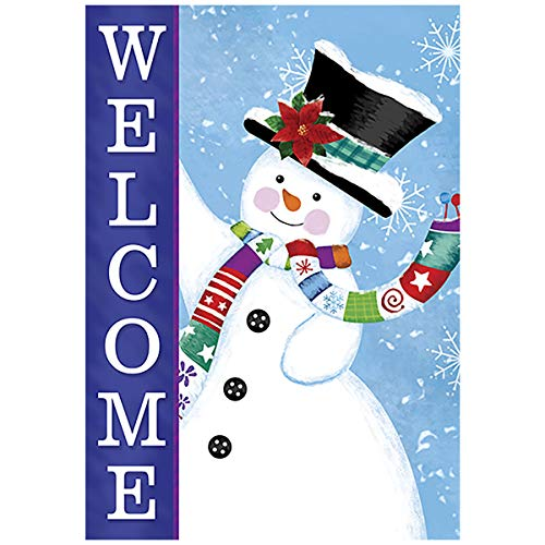 (Morigins Snowman Welcome 28 x 40 Inch Snowflake Flag Decorative Winter Christmas Double Sided House Flag)
