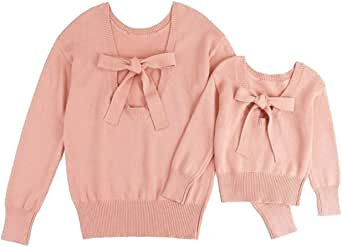 Matching Family Outfits Mommy and Me Sweater for Women Toddler Girls Winter Backless Bowknot Pullover Tops