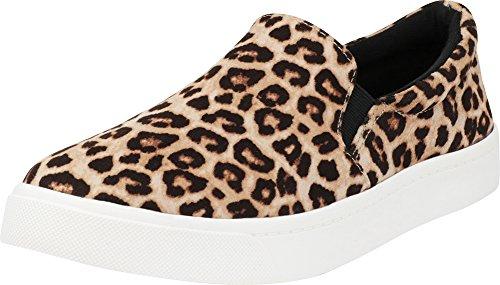Cambridge Select Women's Classic Casual Closed Round Toe Slip-On Stretch White Sole Flatform Fashion Sneaker Oatmeal Cheetah Imsu