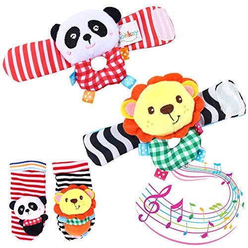 (GoaPly Baby Rattle,Baby Wrist Rattles and Foot Finder Set Sock Toys[4 PCS],Developmental Soft Animal Rattles Infant Baby Toys,Educational Development Soft Animal Toy Shower Gift( Lion and Panda))