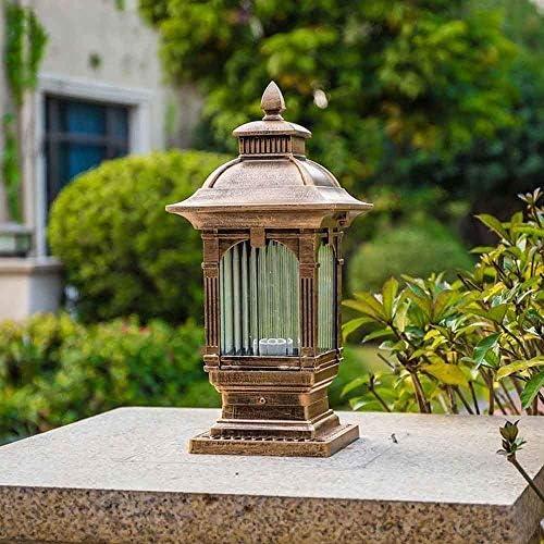 Libuty Europäische antike Messing Spalte Licht Leuchte E27 Landschaft Straßenlaterne Porch Pathway Decking Laterne IP55 im Freien Garten Innenhof Wegbeleuchtung Pfosten-Lampen-Licht, Pathway-Garten-Li