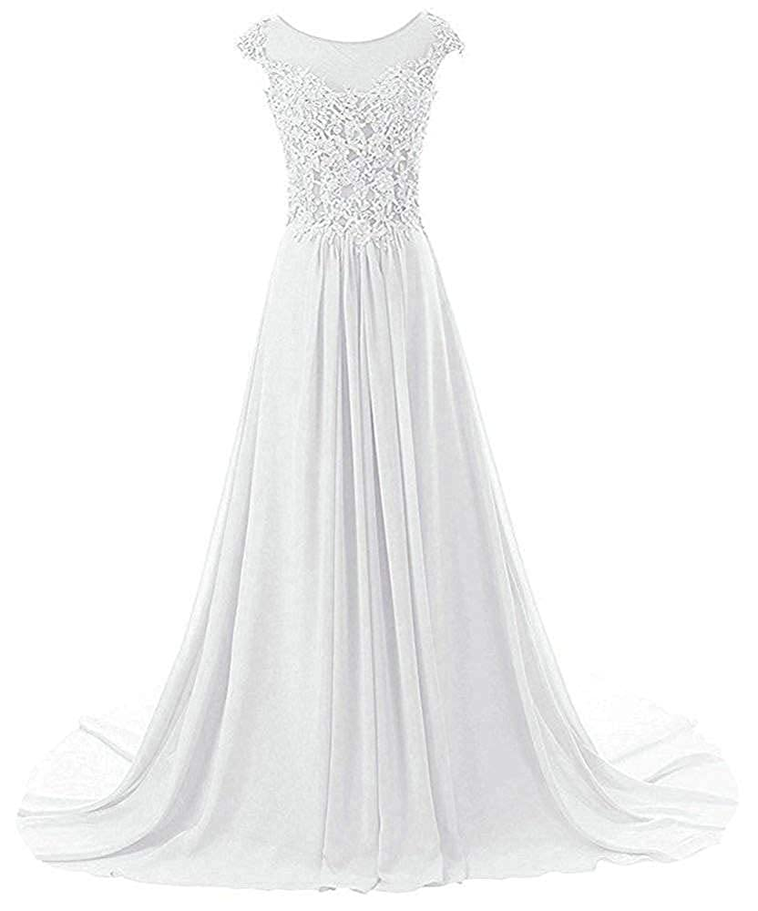 White Wanshaqin Women's Aline Lace Appliques Evening Party Cocktail Dresses Bridesmaid Gowns Prom Formal Dresses for Events Party
