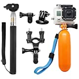 AFUNTA 3-in-1 Camera Accessories Bundle Kit for GoPro Hero 5 4 Session 3+ 3 2 1 Black Silver SJ4000/5000/6000, Monopod Selfie Stick+Diving Floating Handle Grip+Tripod Mount Adapter