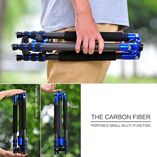 Z888C Travel Carbon Fiber Tripod with Bag by ZOMEI (Blue) by ZOMEI (Image #2)