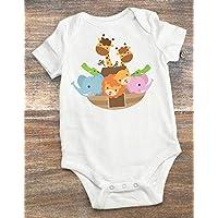 Baby Shower Present - Noah's Ark Theme Nursery Decoration - Baby Bodysuit Noah's Ark 0-3 Months