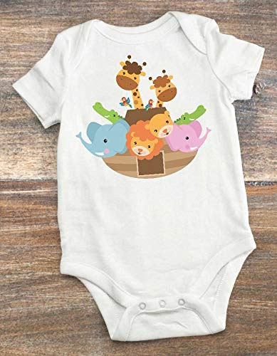 Baby Shower Present - Noah's Ark Theme Nursery Decoration - Baby Bodysuit Noah's Ark 0-3 Months]()