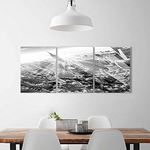 "Triptych Painting Combination Frameless new york city manhattan downtown skyline with illuminated empire state building Restaurant Bedroom Painting W12"" x H32"" x 3pcs"