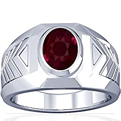 Platinum Oval Cut Ruby Men's Ring
