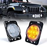 Xprite LED Amber Yellow Side Maker Lights for Jeep Wrangler 2007-2018, Front Fender Led Light Assembly w/Clear Lens