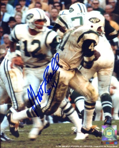 - Matt Snell Autographed/Original Signed New York Jets 8x10 Color Photo w/Joe Namath in Background