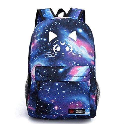 YOYOSHome Luminous Japanese Anime Cartoon Cosplay Bookbag College Bag Backpack School Bag (Sailor Moon Blue) ()