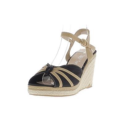 Alpargatas cuña camel mujer y negro zapatos de tacón lienzo cm 9 - 38: Amazon.es: Zapatos y complementos
