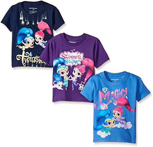 Shimmer and Shine Little Girls' Toddler 3-Pack T-Shirts, Blue/Purple, -