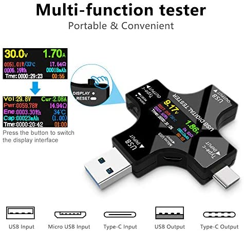 USB Power Meter Testers Electop Upgrade Multi Functional 2 in 1 Type C USB Test