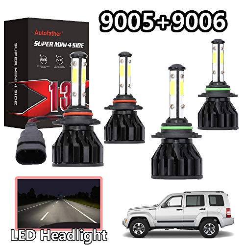 - 2 Pcs 9005 High Beam and 2 Pcs 9006 Low Beam LED Headlight Bulbs Combo Kit 4-side Chips 200W 20000LM 6500K White Light For Jeep Grand Cherokee 2005-2010