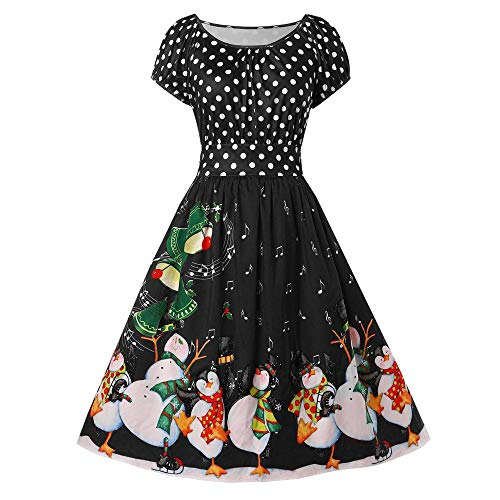AKwell Women Vintage Xmas Print Plus Size Dress Penguin Dot Christmas O-Neck Party ()