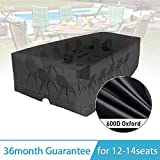 KINGDOWAY 137'' Outdoor Patio Furniture Covers Waterproof 600D Oxford Polyester Durable Water Resistant Extra Large Size Furniture Set Covers Fits To 12-14 Seat (137.8'' x 102.4'' x 35.4'' )