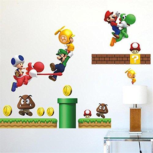 - SeedWorld Wall Stickers - Cartoon Super Mario Bros Wall Stickers Boy Room Decoration 621 Kids Art Decal Mural Home Decor Kids Nursery Decals Home Decor 1 PCs