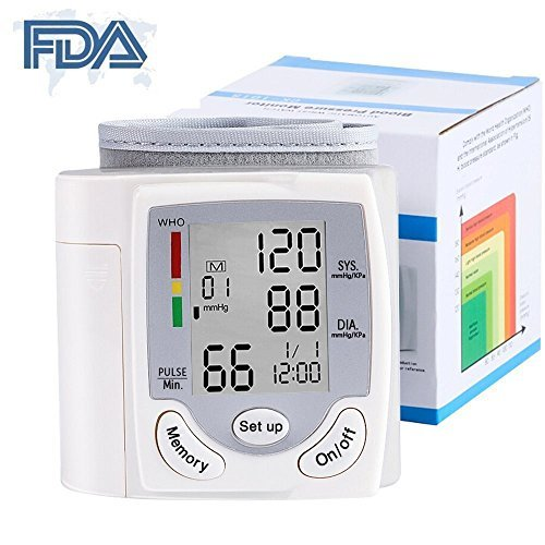 Wrist Blood Pressure Monitor - Digital Fully Automatic Measure Blood Pressure and Pulse for Home Travel, 2 User Mode ( 2 x 99 Memory ), Large LCD Display ()
