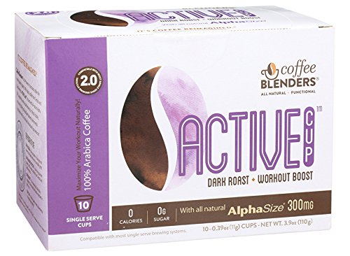 Coffee Blenders Active 2.0 Single Serve Cups 10 Count With All Natural Alpha Size For Muscle Power Output During Physical Activity