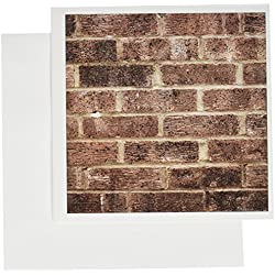 3dRose Greeting Cards, Brown Brick Wall Texture Photography, Grunge Red Bricks Building Construction Urban Masonry Builder, Set of 6 (gc_112994_1)