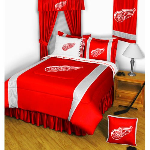Detroit Red Wings QUEEN Size 12 Pc Bedding Set (Comforter, 2 Pillow Cases, 2 Shams, Bedskirt, Valance/Drape Set & Matching Wall Hanging) - SAVE BIG ON (Detroit Red Wings Sham)