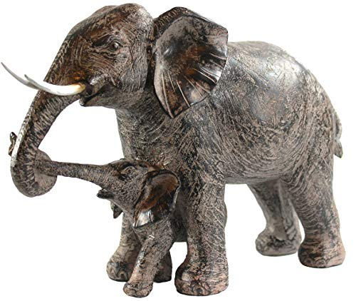 Seraphic Mother Elephant with Walking Baby Statue (Baby Statues)