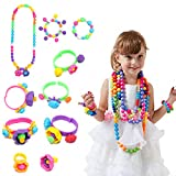 centtechi Pop Beads Jewelry,485Pcs Educational Toys DIY Handmade String Plastic Beaded Girl Set Toys Making Necklace, Bracelet and Ring.Ideal Gift Idea for Birthday with Storage Box