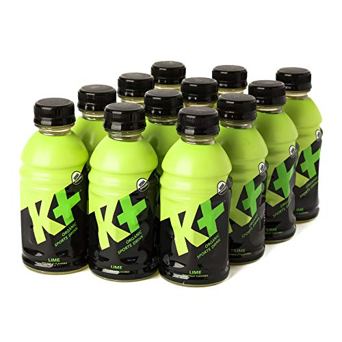 K+ Organic Sports Drink for Kids and Adults, All Natural Beverage with Vitamins and Coconut Water, Replenish Electrolytes and Boost Energy - Lime - (10 oz, Pack of 12)